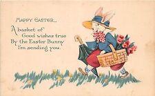 A90/ Easter Postcard Holiday Greetings c1910 Dressed Rabbit Basket Umbrella 11