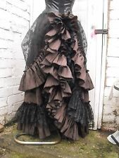 QUIRKY GOTHIC BUSTLE SKIRT HITCH STEAMPUNK VICTORIAN SALOON WHITBY BROWN BLACK
