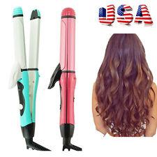 2in1 Curler & Straightener Hot Hair Iron Curling Ceramic Wave Girls Women Use