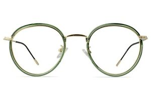 March Round Gold Glasses with Lime Green Crystal Overlay Female 49-21-147