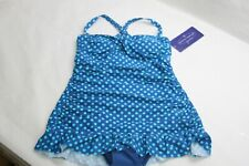 Ocean Dream Signature Classic Dot Swim Dress NAUTICAL BLUE RTL$79 NWT