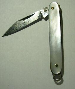 Vintage Mini Pocket Knife Miniature Folding Blade Mother of Pearl Case Unmakred