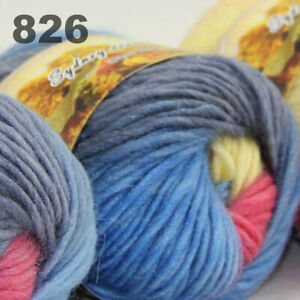 SALE LOT of 3 Skeins x 50g NEW Chunky Colorful Hand Knitting Scores Wool Yarn 26
