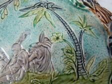 Plat barbotine décor Indiens fleurs n°675 Onnaing Orchies
