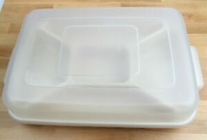 RUBBERMAID SERVIN SAVER - 10 X 14 Divided Covered Veggie Dip /Fruit Tray Vintage