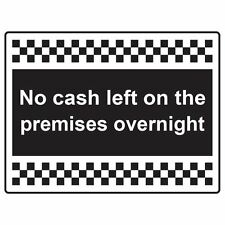 No Cash On Premises Sign 20cm x 15cm Self-Adhesive Vinyl Sticker Safety decal