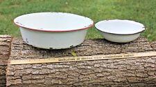 2 Vintage Pans Bowls Basin Enamel 18 12 inches Red White Black Planter Farmhouse