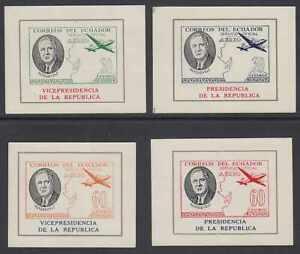 ECUADOR 1949 ROOSEVELT Bertossa O262-O265 FULL SET OF MINISHEETS HINGED MINT FVF
