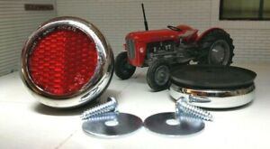Massey MF 35 30 135 Tractor Lucas Type RER25 Chrome Brass Red Rear Reflectors x2