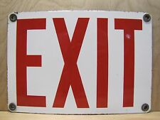 Old Porcelain EXIT Sign industrial gas station repair shop caution safety adv