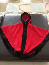 GIRLS LUXURY RED FAUX CASHMERE BLACK FAUX FUR TRIMMED CAPE 10/11 Years