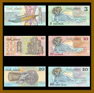 Cook Islands 3 10 20 Dollars (Matching Set 3 Digit 000477), 1987 P-3a/4a/5a Unc