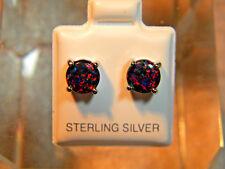 .925 Sterling Silver Stud Earrings 2.00 Tcw Black Opal Round Cut