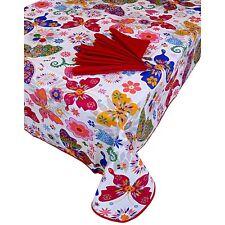 Tovaglia Copritavola per 6 + 6 tovaglioli cotone copri tavolo farfalle rosso