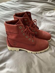 Timberland Womens Leather Boots Size 7 Cherry Red