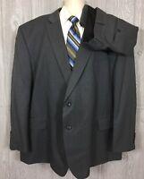 Recent Stafford Mens Big & Tall Grey 2pc Wool Suit Sz 56 53x28 (t12)
