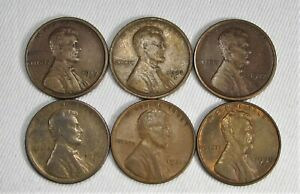 Lot of 6 Lincoln Wheat Cent Coins 1910, 1917, 1919, 1923, 1931, 1938 AG93