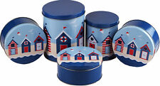 More details for 5 piece kitchen food / baking / cake tin set  - blue beach hut design