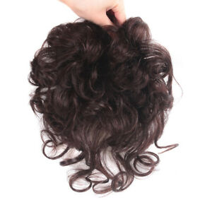 Women Short Curly Toupee 100% Human Hair Topper Clip in Hairpiece +Extended Tail