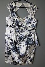 [H] MIDNIGHT VELVET Blue & White Floral Print Open Back Mini Dress Sz 18W New
