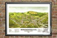 Old Map of Winchester, NH from 1887 - Vintage New Hampshire Art, Historic Decor
