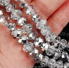 1000pcs Wholesale Silver Clear 4x6mm Rondelle Crystal Loose Beads Jewelry Making