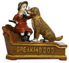 Antique / Vintage Style Cast Iron Mechanical Speaking Dog Money Bank piggy bank