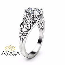 Forever One Moissanite Engagement Ring 14K White Gold Filigree Design Ring