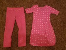 Girls Pink Dress Outfit With Pink Leggings Bows & Butterflies Size 5 CUTE EUC
