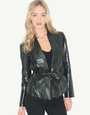 new RRP $480 RELIGION BLACK LEATHER JACKET WITH TIE L / 12 last