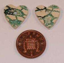 2 Cream/Green Ceramic Heart Shaped Beads; Size 19mm