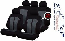 9 PCE Black & White Stitching Full Set of  Seat Covers for BMW 3, 4 ,5, 6 Series