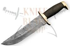 "Damascus steel BLADE BOWIE,BRASS GUARD,BLACK MICARTA HANDLE, OVERALL 13"" INCH"