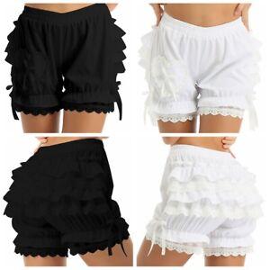 Womens Victorian Gothic Layered Ruffle Loose Pumpkin Bloomers Pantaloon Shorts