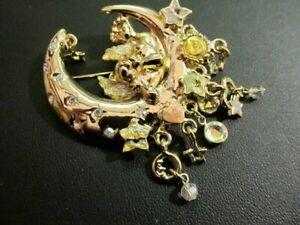 Retired Kirks Folly Gold Tone Angel Teddy Bear Crescent Moon Dangle Pin/Brooch
