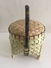 Bamboo Skin Basket Lid Pilipino Handmade Woven Holder Storage Round Shape Sturdy