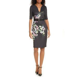 Ted Baker Soliaa Pergola Floral Short Sleeve V Neck Belt Bodycon Dress $295