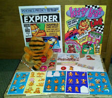 Vtg Garfield Folders Pins/Buttons Paper Hallmark Stickers Plush Car Window Cling