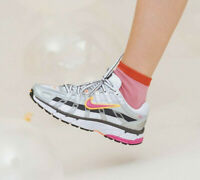 Nike P-6000 Grey Silver And White/Laser Fuchsia Trainers UK 7.5 EU 42 US 10