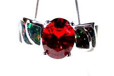 Sterling 925 Silver SF Size 9 Ring Dark Red Lab Fire Opal & 8*6mm Oval Garnet