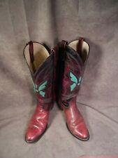 TEXAS DISTRESSED BURGUNDY LEATHER TURQUOISE LIZARD INLAY WESTERN COWBOY BOOTS 9M
