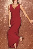 NEW BRAVISSIMO Ruby Red Twist Side Maxi Party Evening Cocktail Casual Dress(BR47