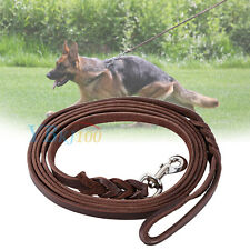 Hand Made Braided Brown Soft Leather Pet Dog Leash Leads Training Collars  LJ