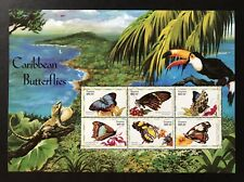 1999 MNH GUYANA CARIBBEAN BUTTERFLY STAMPS SHEET OF 6 BUTTERFLIES INSECT TOUCAN