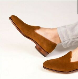Handmade Mens brown suede leather Penny Loafer driving shoes moccasins slip ons
