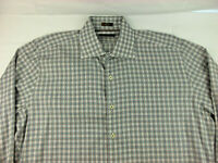 Peter Millar Spread Collar Black Red Plaid Chambray Shirt Size L Large Cotton