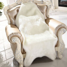 Behaarte Teppich Schaffell Stuhl Schlafzimmer Faux Mat Sitz Sitzteppiche Weiß #