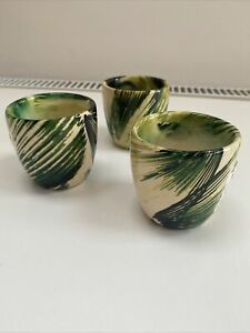 Urban Outfitters Ceramic Mini Palm Print Plant Pot/Planter. Green