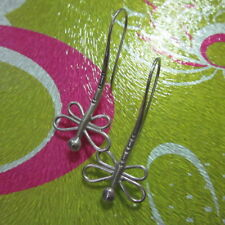 Hill Tribe Real Fine Sterling Silver Earrings Orecchini Filigree Wing Dragonfly