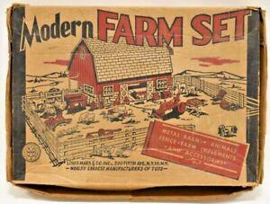 Vintage 1951 Marx Modern Farm Playset w/ Original Box Barn Animals Tractor Fence